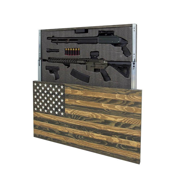 AMERICAN FLAG CONCEALMENT CABINET - DARK BROWN