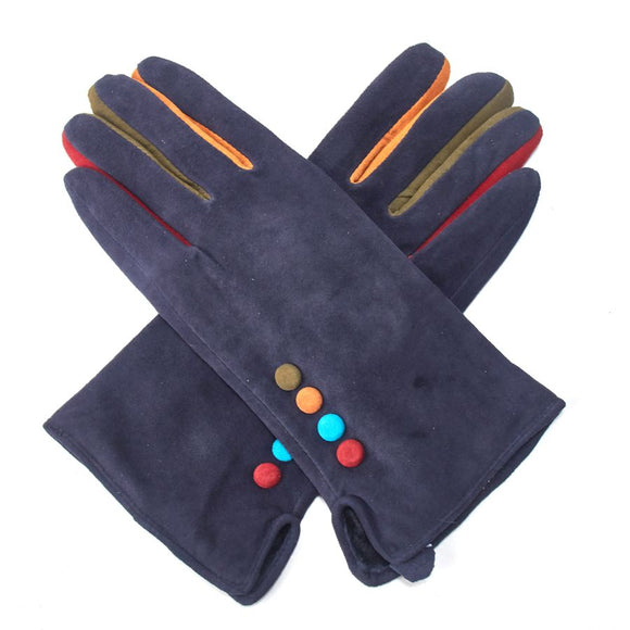Suede Button Gloves