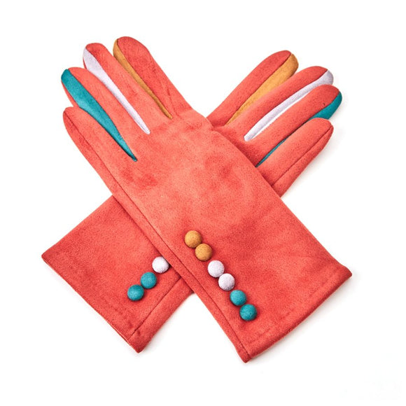 6 Colour Button Gloves