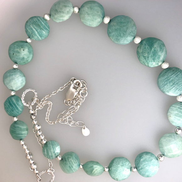 Amazonite faceted rounds delicate necklace with  sterling silver beads