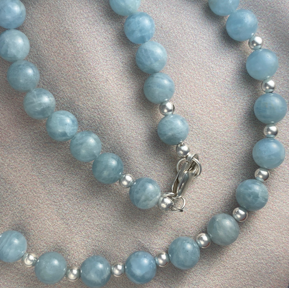 Milky Aquamarine and sterling silver bead necklace with matching earrings