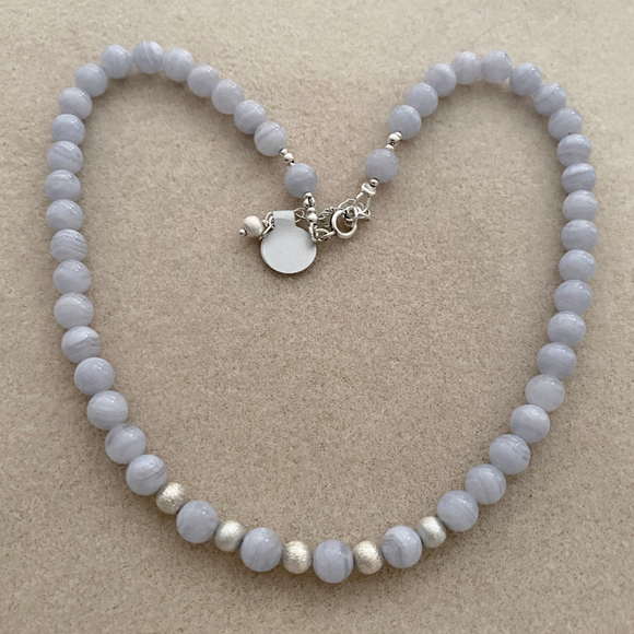 Blue Lace agate necklace with brushed Sterling Silver beads and earrings to match.  - SALE ITEM