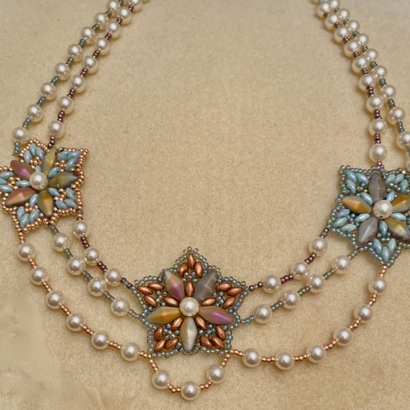 Belle Epoque style Swarovski pearl and seed bead necklace  - SALE ITEM