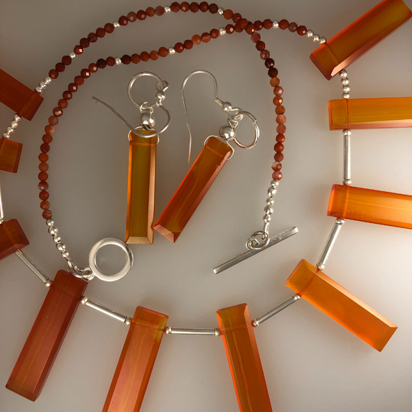 Carnelian collar necklace  with Sterling silver elements  and matching earrings