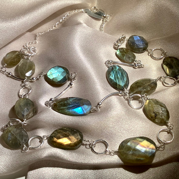Labradorite  faceted ovals in a double strand necklace with sterling  silver spacers and decorative connectors - SALE ITEM