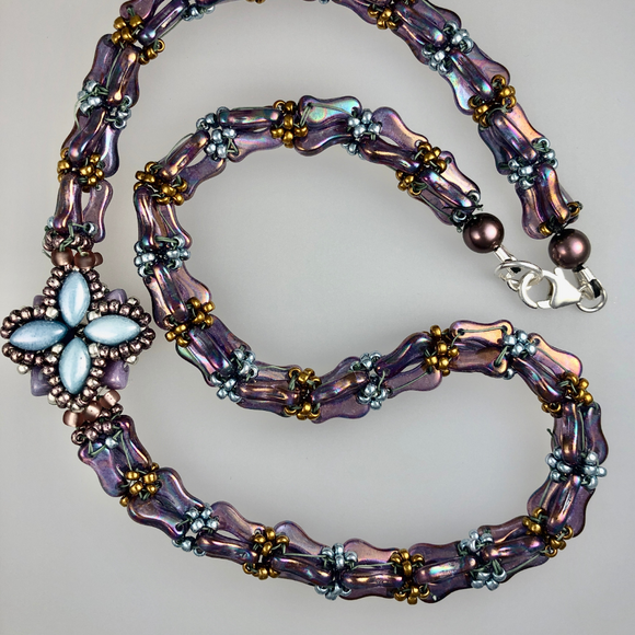 Necklace with a rope made with   link beads and a decorative lantern . - SALE ITEM