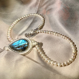 Labradorite pendant bezel set with Swarovski crystals on pearl necklace