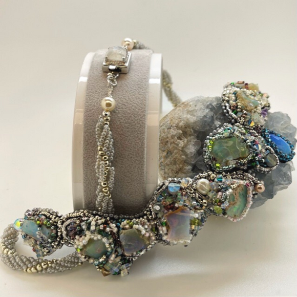 Opal statement necklace with sterling silver box clasp set with faceted moonstone cabachon