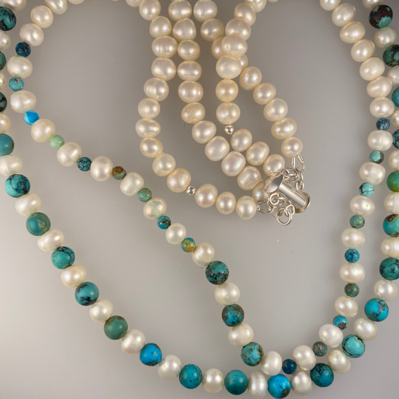 Double stranded cultured  pearl and turquoise necklace and earrings set.