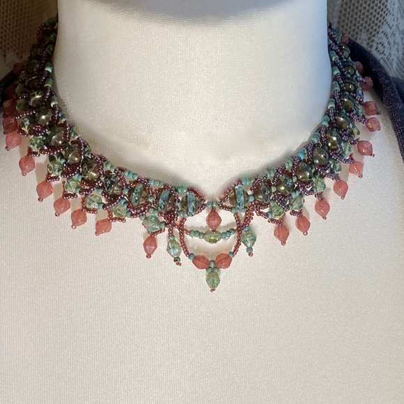 Statement collar with turquoise Czech glass, 'Saturn' beads, and Antik beads in faded rose and turquoise colours with Myuki seed beads