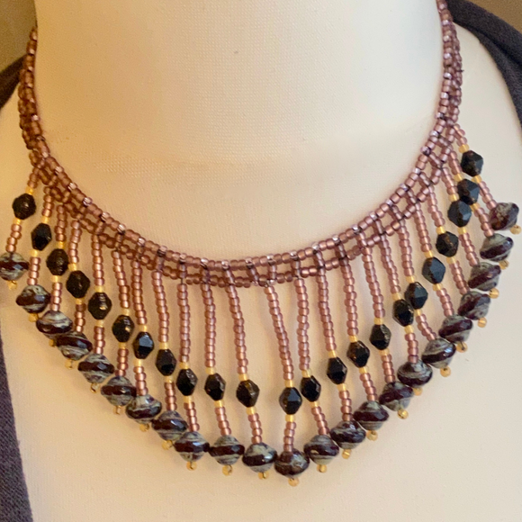 Saturn Beads fringed choker  - SALE ITEM