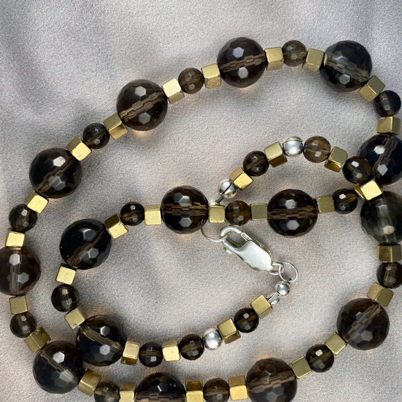 Smokey quartz faceted beads with  gold coated hematite