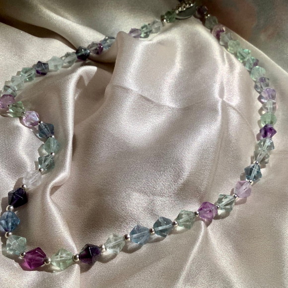 Flourite Necklace with Sterling silver beads and toggle clasp