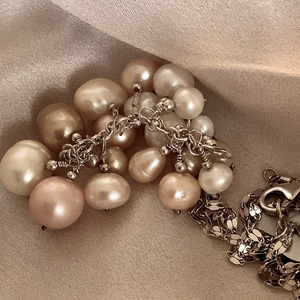 Long sterling  silver mirror chain with peach gold and white pearl cascade.