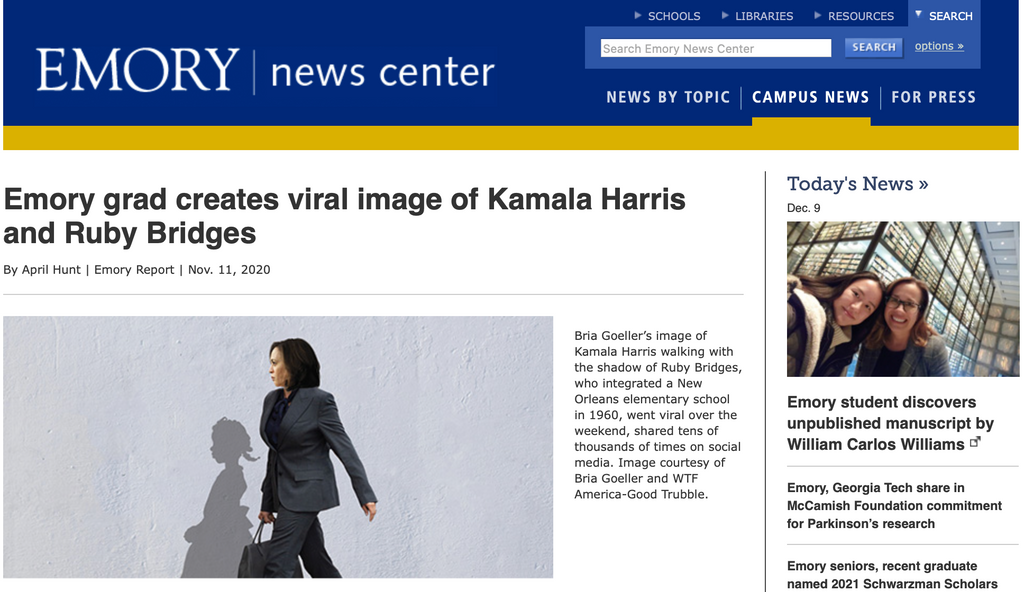 Emory grad creates viral image of Kamala Harris and Ruby Bridges
