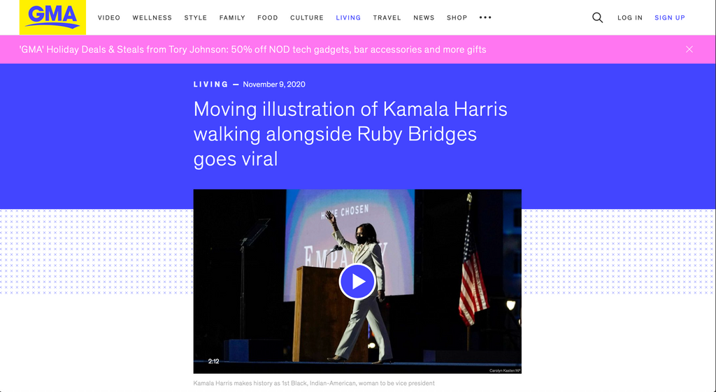 Moving illustration of Kamala Harris walking alongside Ruby Bridges goes viral
