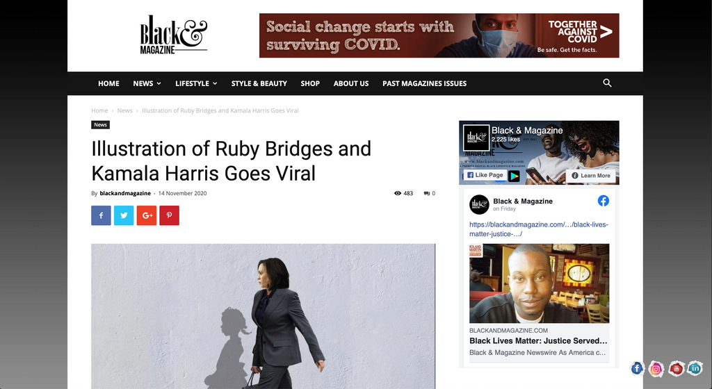 Illustration of Ruby Bridges and Kamala Harris Goes Viral