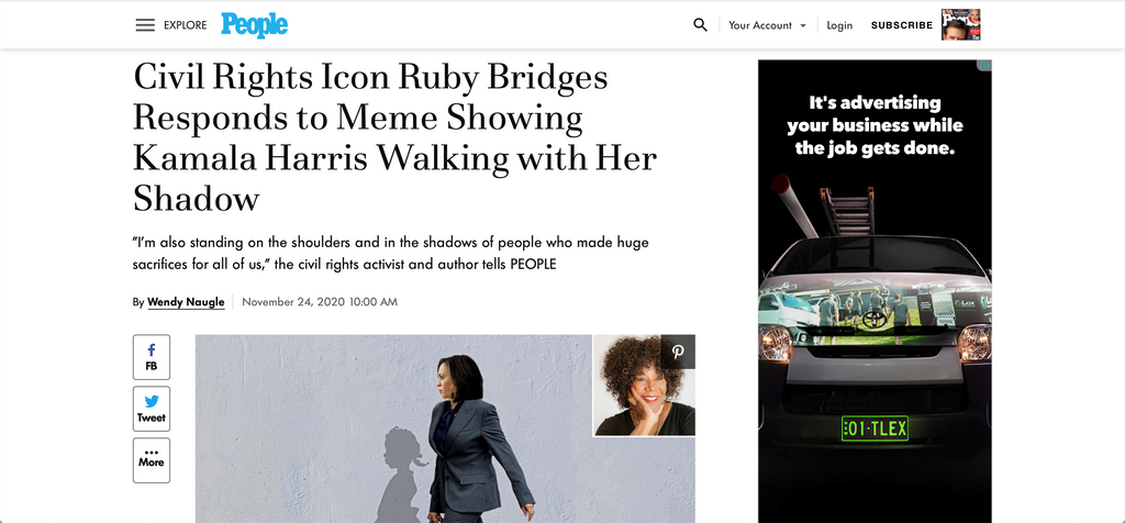 Civil Rights Icon Ruby Bridges Responds to Meme Showing Kamala Harris Walking with Her Shadow