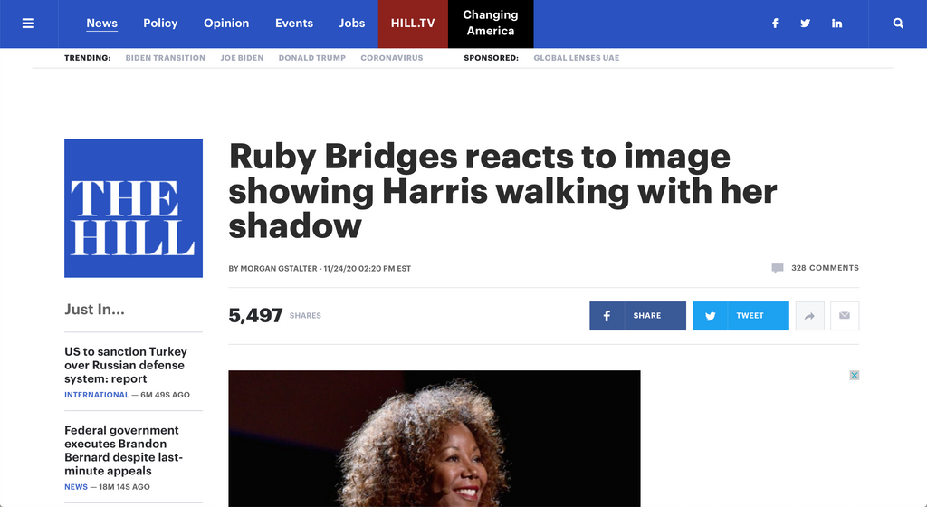 Ruby Bridges reacts to image showing Harris walking with her shadow
