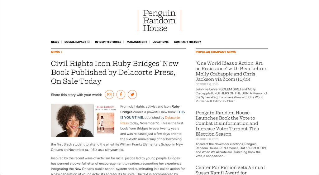 Civil Rights Icon Ruby Bridges' New Book Published by Delacorte Press