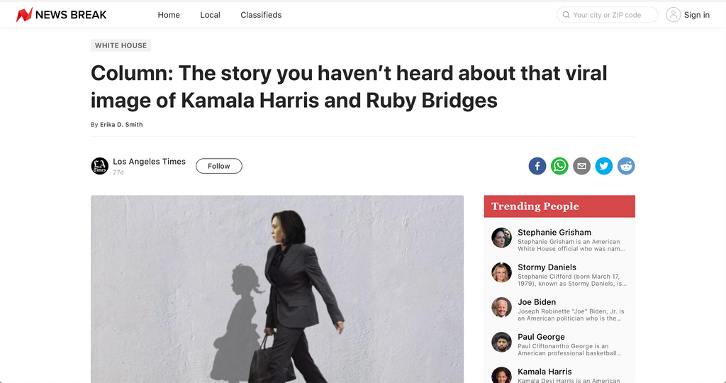 The story you haven't heard about that viral image of Kamala Harris and Ruby Bridges