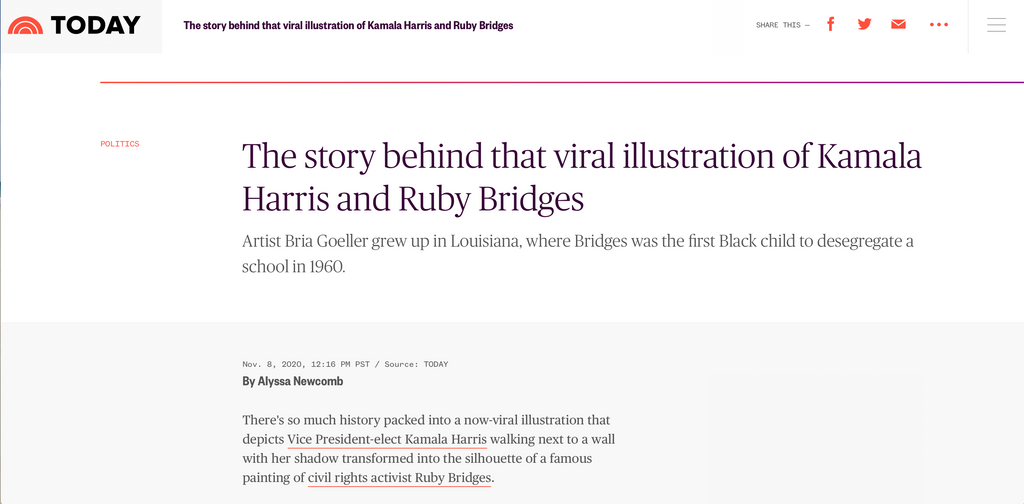 The story behind that viral illustration of Kamala Harris and Ruby Bridges