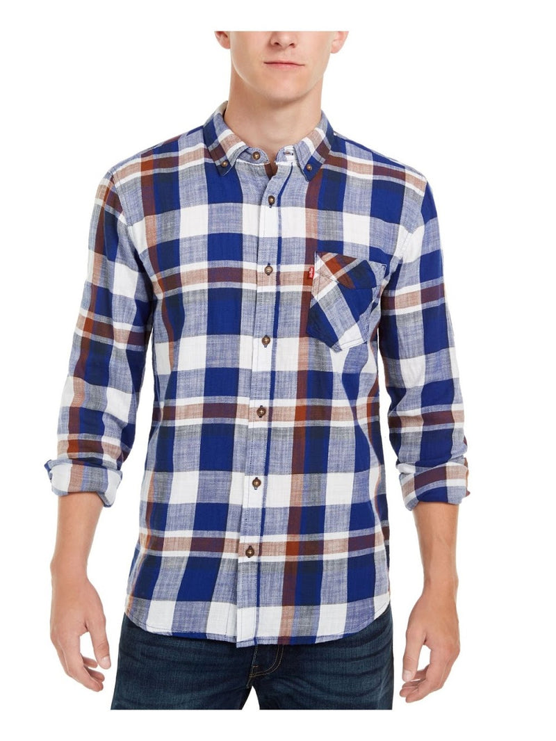 Levi's Blue Plaid Button Up Shirt
