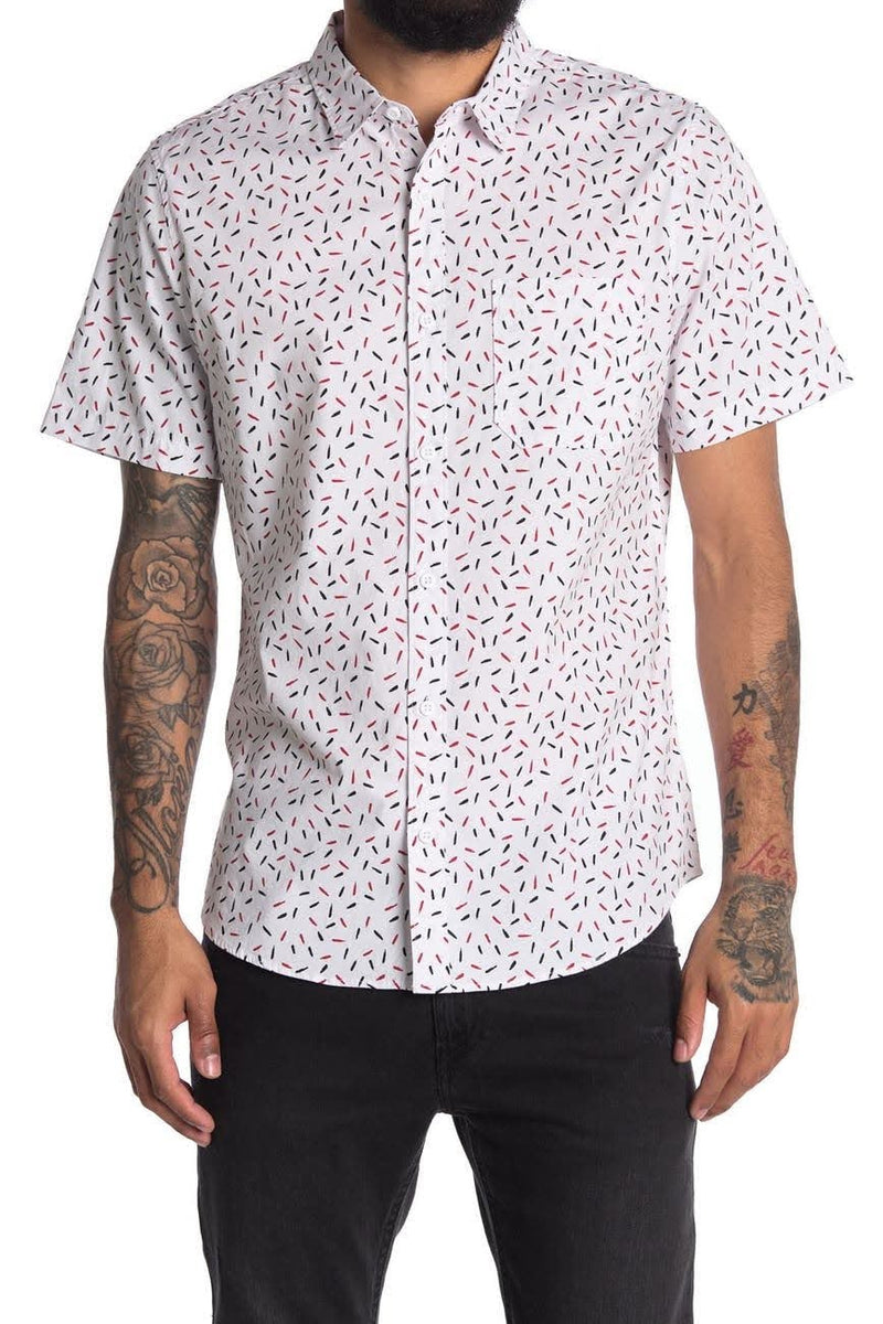 Abound White Sprinkle Printed Shortsleeve Button Up Shirt