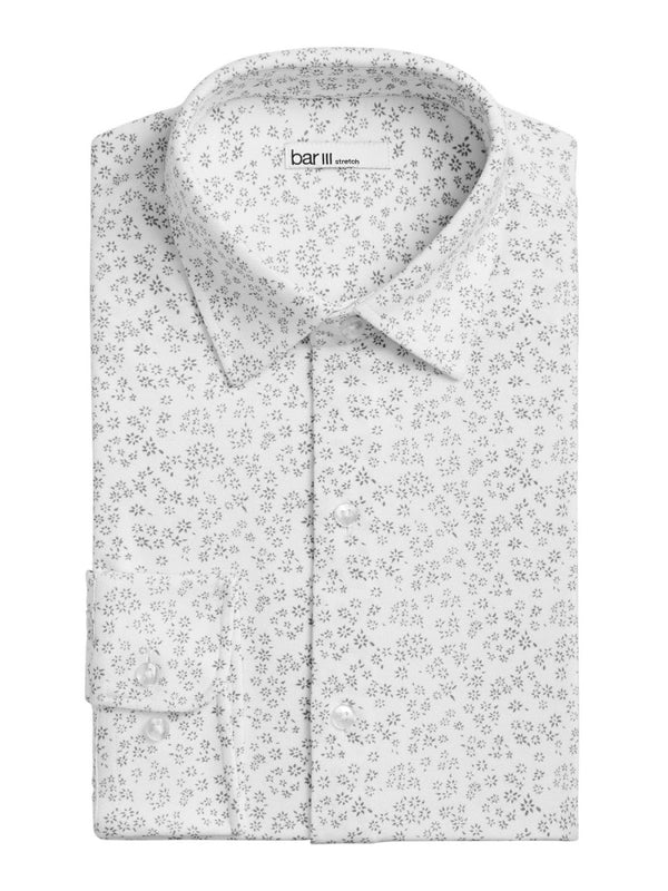 Bar III White Abstract Print Button Up Shirt