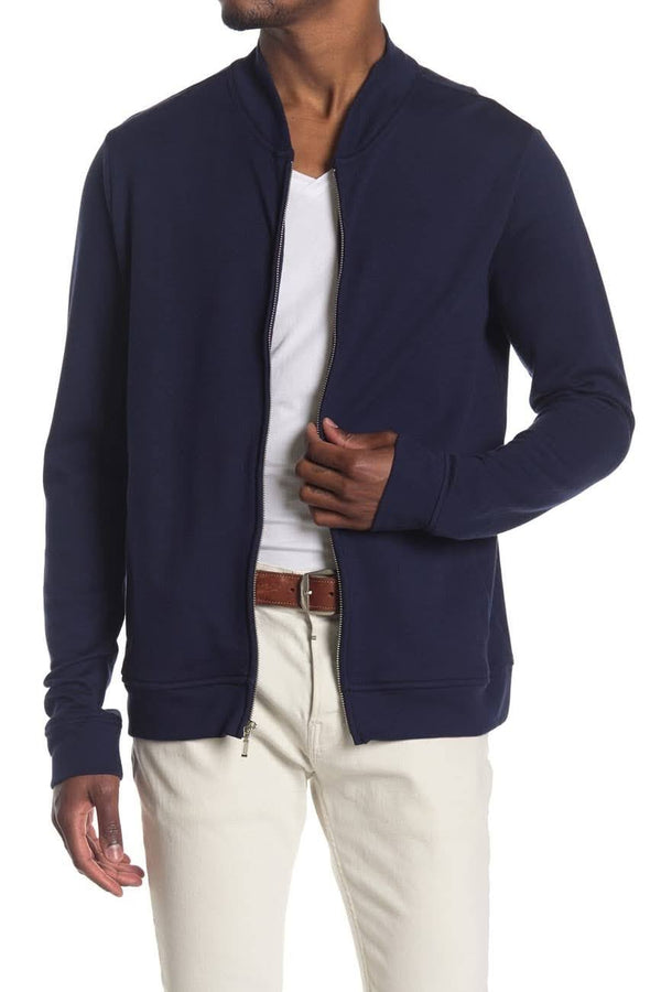 Wallin & Bros Navy Knit Bomber Jacket