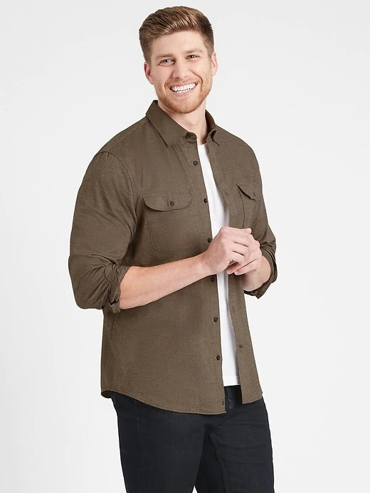 Banana Republic Slim Fit Brown Flannel Shirt