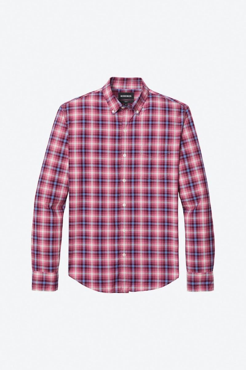 Bonobos Pink Plaid Button Down Shirt