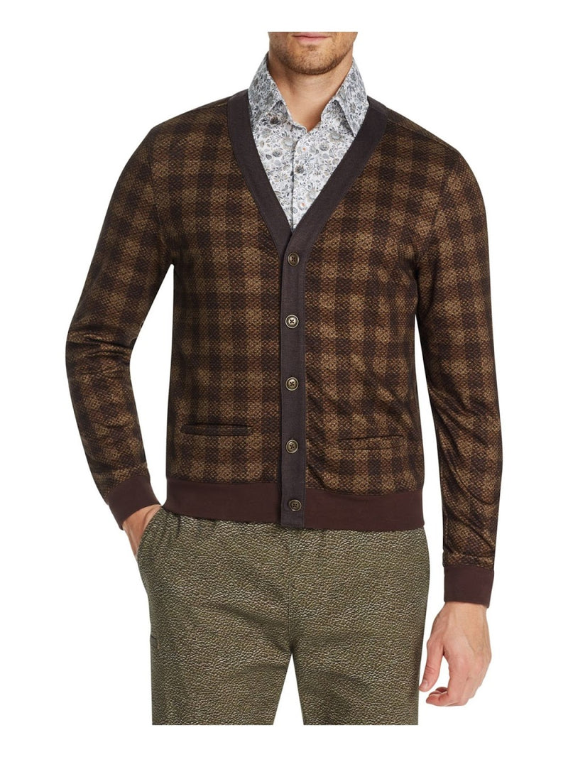 Tallia Brown Plaid Cardigan