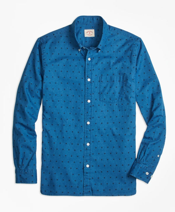 Brooks Brothers Blue Chambray Polka Dot Button Down Shirt