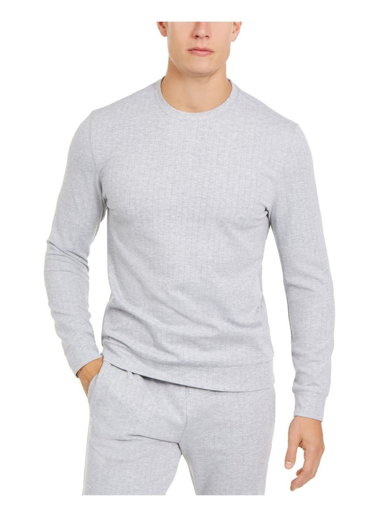 Alfani Light Heather Grey and White Pinstripe Pull-Over Top