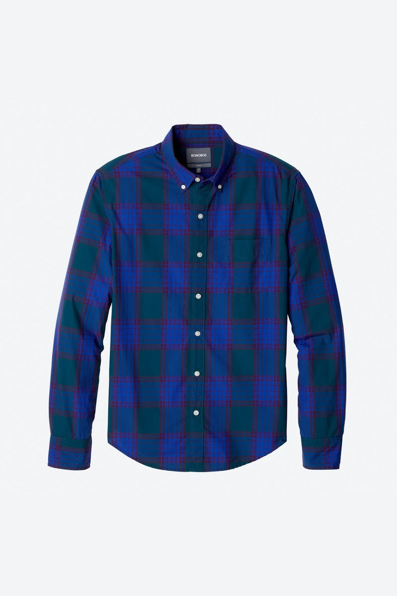 Bonobos Blue and Teal Plaid Button Down Shirt