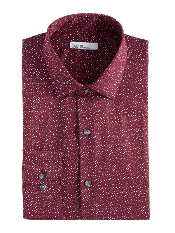 Bar III Red Abstract Print Button Up Shirt