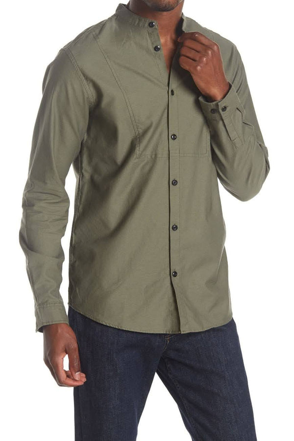 Selected Homme Mandarin Olive Green Button up Shirt
