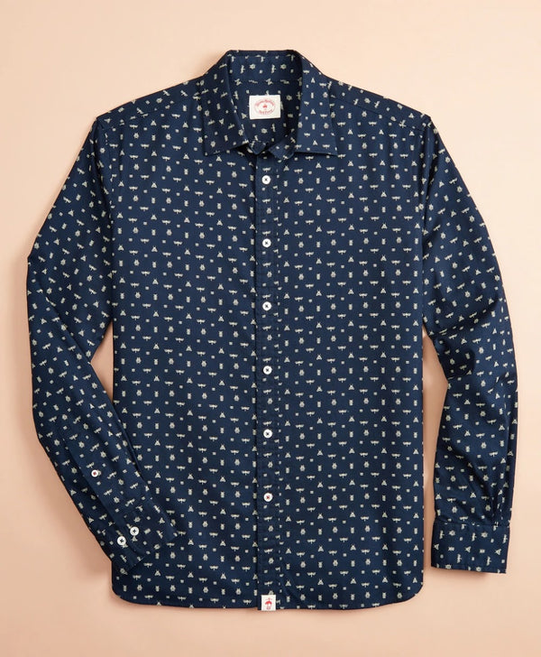 Brooks Brother Navy Insect Brint Button Up Shirt