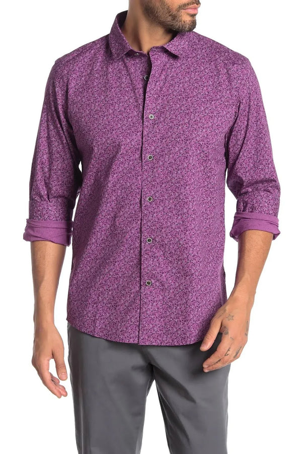 Ike Behar Purple Floral Button Up Shirt