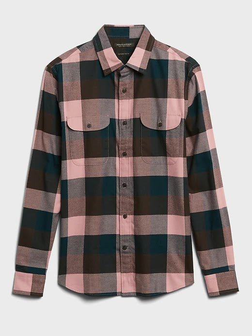 Banana Republic Slim Fit Pink Flannel Shirt