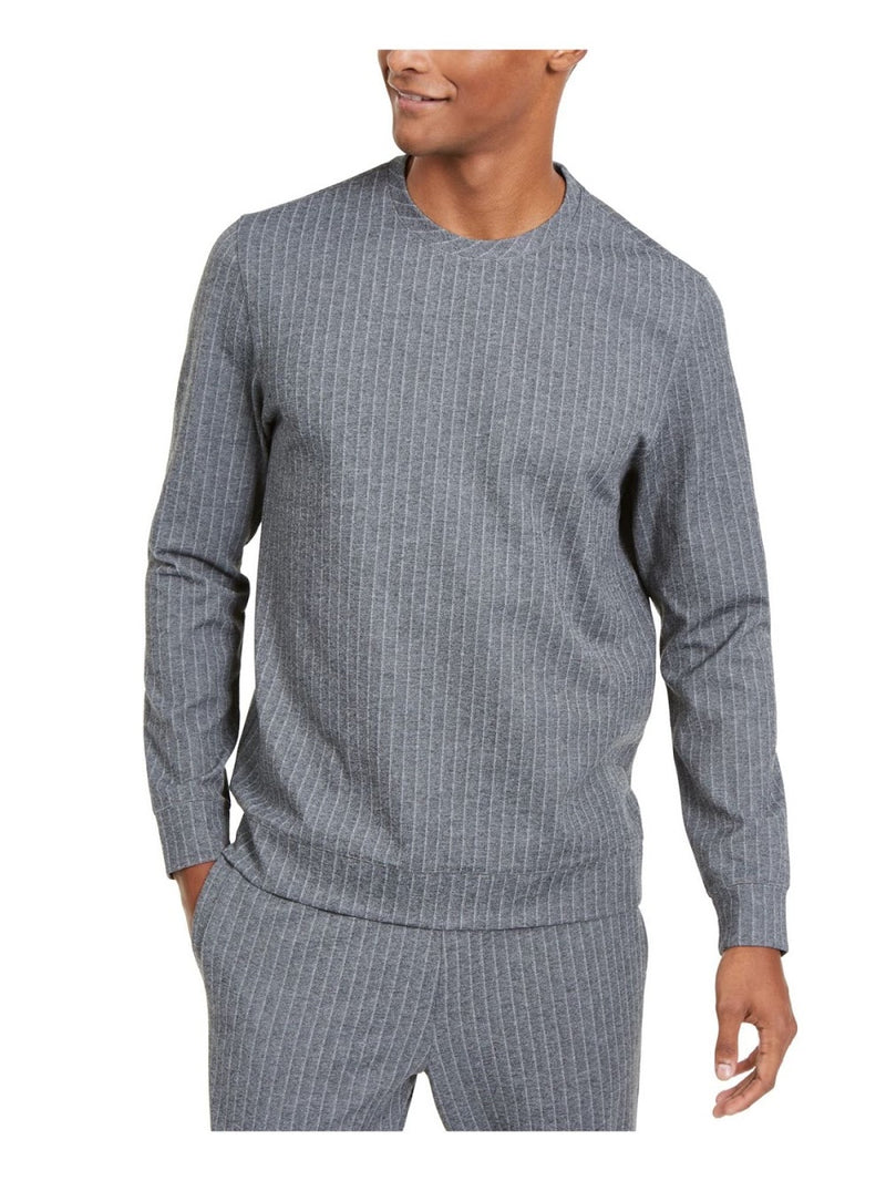 Alfani Heather Grey and White Pinstripe Pull-Over Top