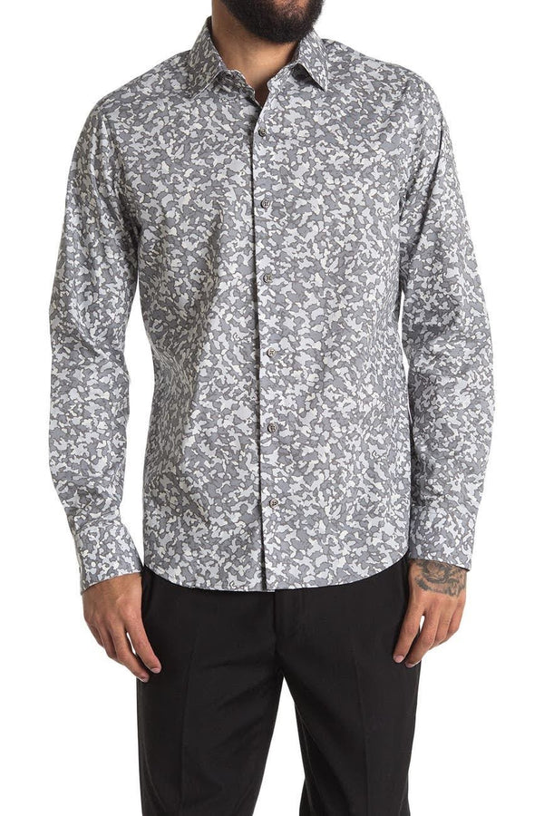 DKNY Grey Abstract Print Button Up Shirt
