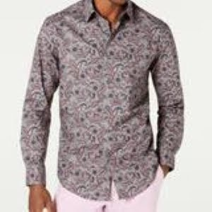 Tasso Elba Pink Paisley Print Button Up Shirt