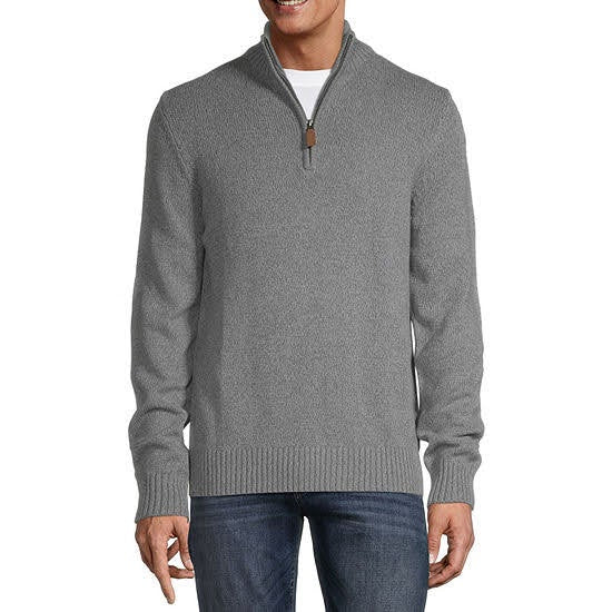 St. John's Bay Quarter Zip Grey Marl Sweater