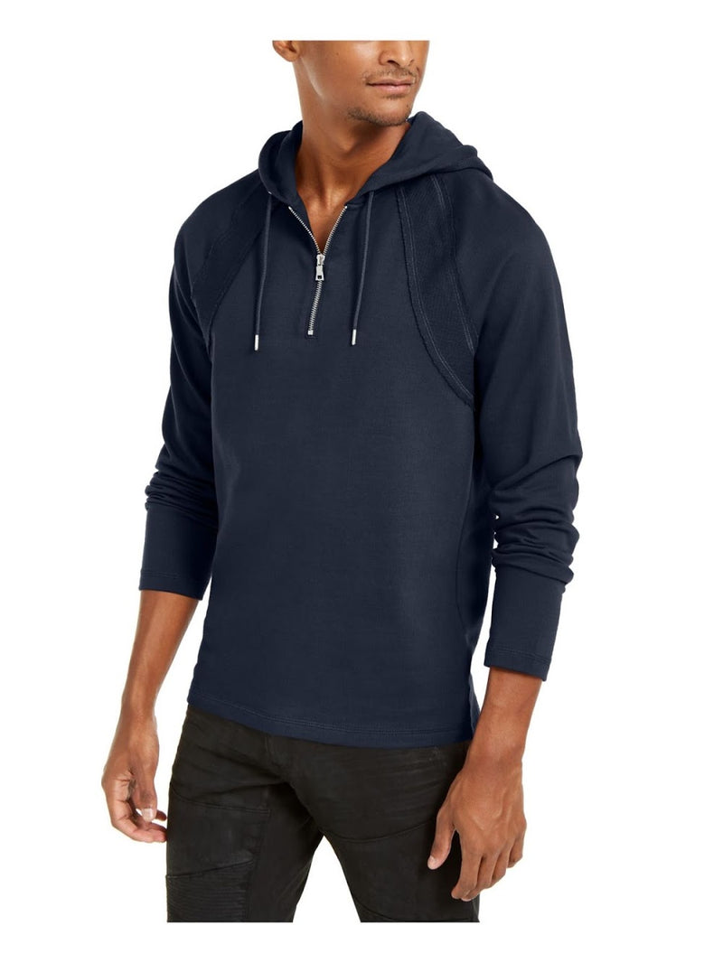INC Navy Raglan Sleeve Quarter-Zip Hoody