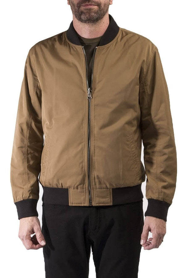 Civil Society Reversible Tan and Black Contrast Rib Bomber Jacket