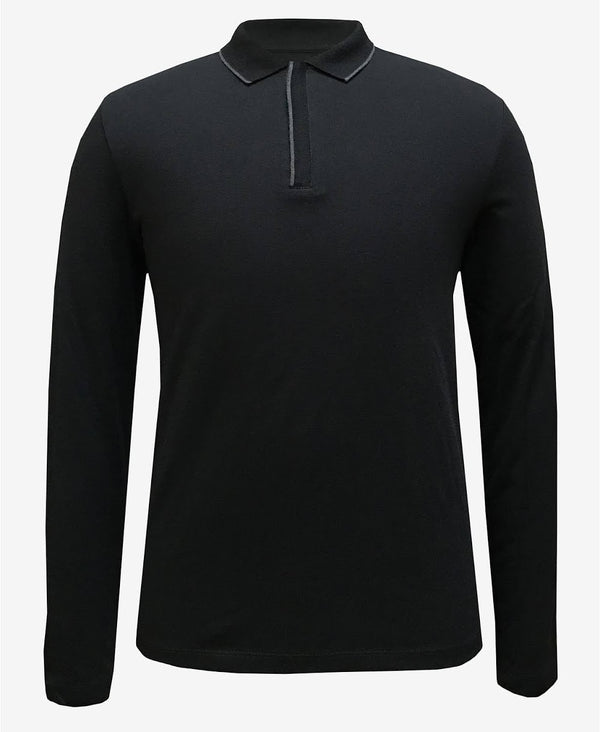 Alfani Tipped Collar Black Polo