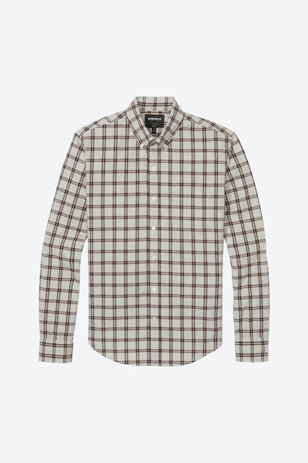 Bonobos Cream and Burgundy Plaid Button Down Shirt