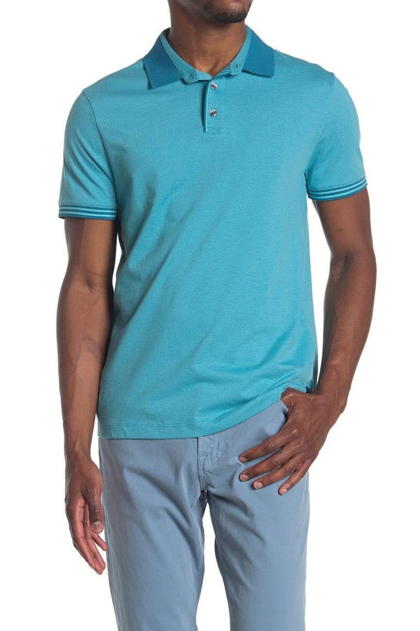 Perry Ellis Aqua Polo Shirt with Contrast Collar